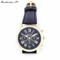 Hot Sell Really Cheap Fankris 2016 Women's Geneva Roman Numerals Faux Leather Analog Clock Hour Quartz Watch Black Color