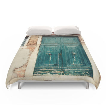 Society6 Turquoise Door In Venice Duvet Cover
