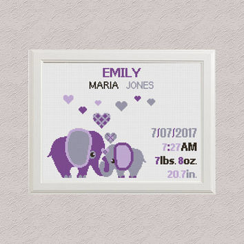 Cross stitch elephants with hearts Birth announcement cross stitch pattern baby sampler new baby girl birthday Jungle Nursery decor wall art