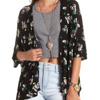 Knit Floral Print Kimono Top by Charlotte Russe - Black Combo