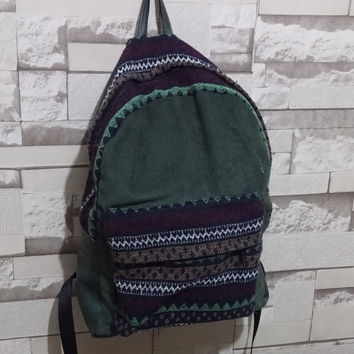 Handmade, Corduroy Backpack, Bohemian Backpack, Tribal backpack, Ethnic, hipster backpack, school bag, green , Laptop Bag, Aztec, Hippie