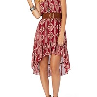 Belted Cami High Low Ruffle Dress