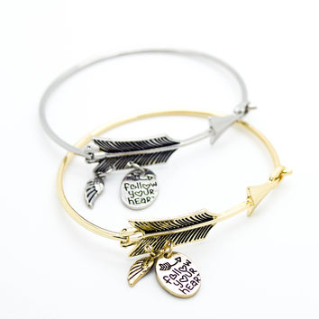Arrow feather bangle bracelet