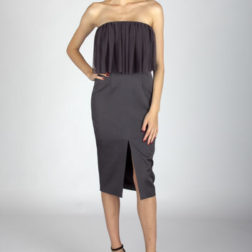 Slate Grey Strapless BodyCon With Mesh Top