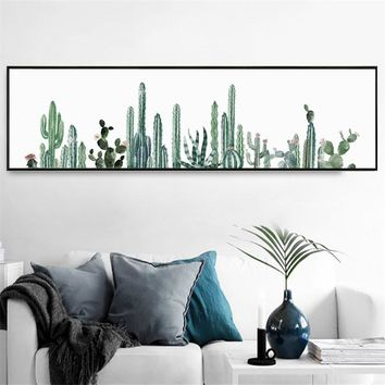 HD printed nordic canvas painting green plants picture Cactus Poster long modern decorative wall art for living room