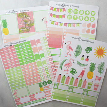 Palm Leaves and Flamingos (VERTICAL) Planner Sticker Set! Fits Erin Condren Life Planners