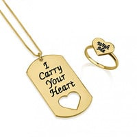 His and Hers Dog Tag Ring Set  Gold or Silver