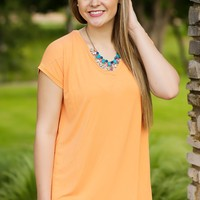 KLR Perfect Piko V-Neck - Tangerine | Tops | Kiki LaRue Boutique