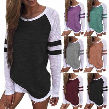 Women Crew Neck T-shirt Long Sleeve Striped Pullover Loose Blouse Top Shirt Tee