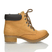 Equity Lace Up Padded Ankle Collar Lugsole Platform Chunky Heel Work Boots