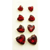 $ Piece Red Crystal Stone Heart Post Earrings