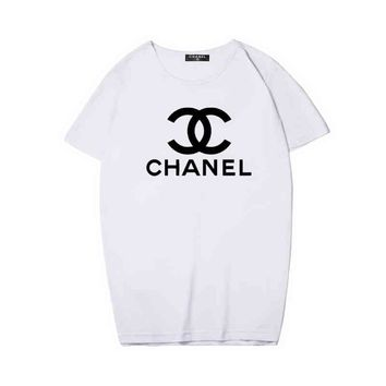 CHANEL Hot Women Men letters print T-shirt top