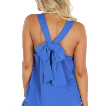 Bow Back Tank Blue