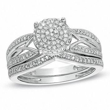1/3 CT. T.W. Diamond Cluster Intertwined Bridal Engagement Ring Set in 14K White Gold
