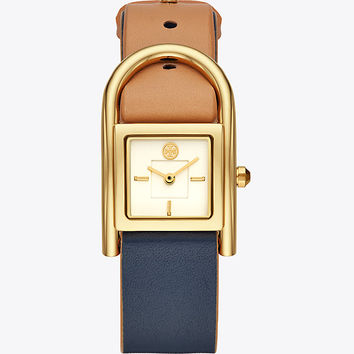 Tory Burch Thayer Watch, Beige & Navy Leather/gold-tone, 25 X 39 Mm