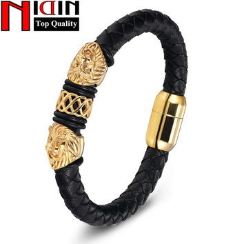 Charm Genuine Leather Bracelets & Bangles Stainless Steel Magnetic Clasps Bracelet For Women Mens Jewelry Pulsera Male Accessory