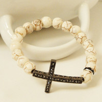 White Turquoise 2 Sidways Gunmetal Cross Connector Beaded Stretch Bracelet