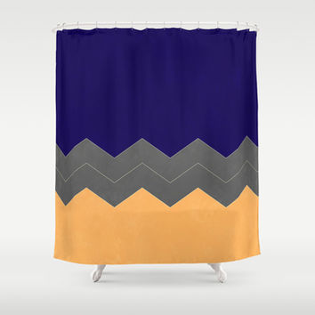 Navy, Grey and Peach Chevron Shower Curtain by Kat Mun