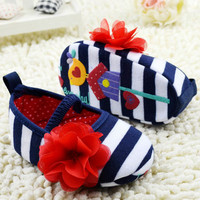 Baby first walker shoes Toddler Girls Flower Crib Shoes Soft Stripes Elastic Casual Party Baby Shoes Free Shipping