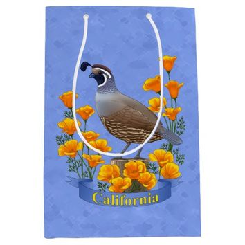 California State Bird Quail & Golden Poppy Medium Gift Bag