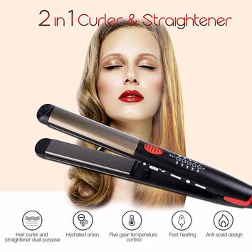 Flat Iron Professional LED Hair Curling And Straightener Electric Tools