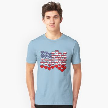 'US Flag Made of Hearts by Scarebaby' T-Shirt by Greenbaby