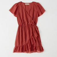 Womens Ruffle Wrap Dress | Womens Dresses & Rompers | Abercrombie.com