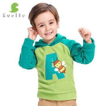 Svelte Brand Children Boys Girls Cute Cartoon Pattern Collision Color Fleece Hooded Jumpers Jackets Hoody for Kids pullovers