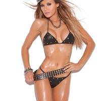 Leather Studded Bra and Panty Set
