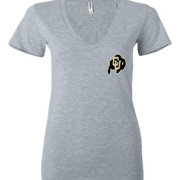 Official NCAA University of Colorado Buffaloes CU Fight Buffs Women's Ladies Deep V-Neck - uofc1999