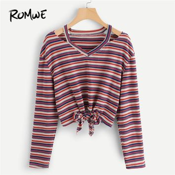 ROMWE Knot Cut Out Shoulder Striped Crop Tee Women Casual 2018 Autumn V Neck Long Sleeve Tops Spring Multicolor Pullover T-Shirt