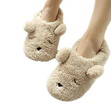 Fakeface Winter Warm Fleece SlippersWomens Ladies Girls Cute Cartoon Soft Cozy Thermal Fuzzy Indoor Slippers Non-slip Home Bedroom Slide Slipper Booties Plush Slip-on House Slippers Ankle Boots Shoes Gift Beige, Teddy Bear 38-39 EU / 7-8 US
