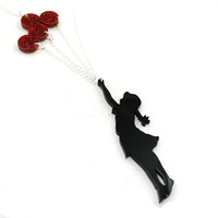Flying Balloons Necklace, Girl and Red Balloons