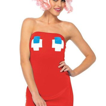 DCCKLP2 2PC.Pac Man strapless ghost tube dress,cherry head piece in RED