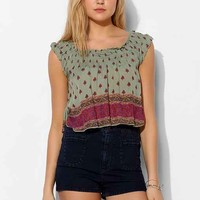 Band Of Gypsies Smocked Gauze Cropped Top- Floral Multi
