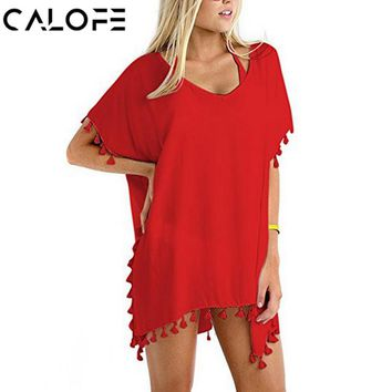 CALOFE Women Shirts 2018 Sexy Cover Up Swimwear Tassel Crochet Tunic Summer Beach Wear Bikini Blouse Boho V-Neck Shirts Smock