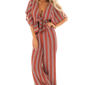 Marsala Striped Short Sleeve Jumpsuit with Front Tie Detail
