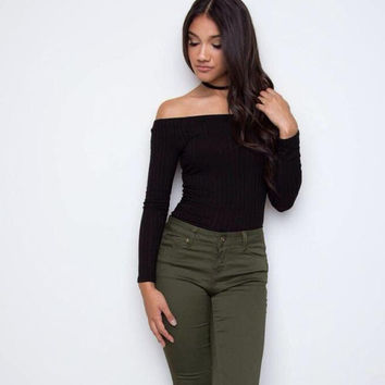 Off Shoulder Ribbed T-Shirt 13356