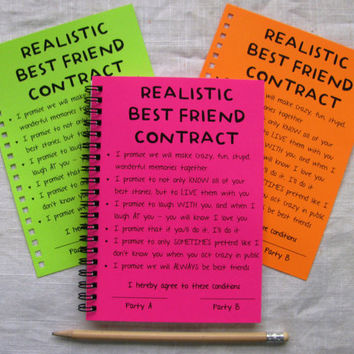 SPECIAL EDITION- Realistic Best Friend Contract- Your Choice Neon Color - 5 x 7 journal