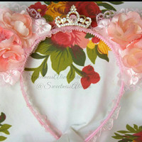 Floral Nekomimi: Silk Pink/Peachy Sakuras & Princess crystal crown