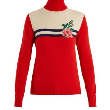 Rose-intarsia wool-blend knit sweater | Gucci | MATCHESFASHION.COM US