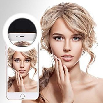 OVTECH Selfie Ring Light for Camera Selfie LED Light [36 LED] Pearl White Light Clip On Phoens, Fill Light for iPhone iPad Sumsung & Other Phones, Powered by Batteries (Black)