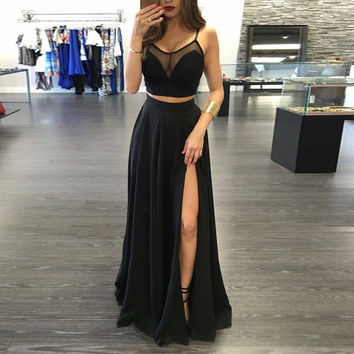Robe De Soiree 2017 Sexy Two Pieces Sheer Illusion Black Prom Gowns with Slit Spaghetti Straps Long Formal Evening Party Dresses