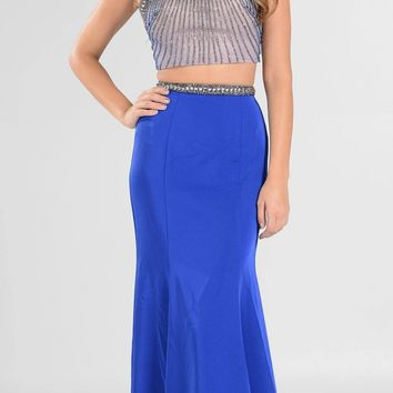 Royal Blue Two-Piece Long Prom Dress Halter Jeweled Bodice Cut-Out Back