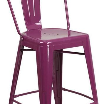 24'' High Metal Indoor-Outdoor Counter Height Stool with Back (Multiple Colors)