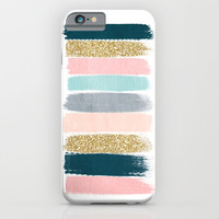Zara - Brushstroke glitter trendy girly art print and phone case for young trendy girls iPhone & iPod Case by CharlotteWinter