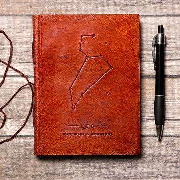 Leo Zodiac Handmade Leather Journal