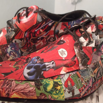 Marvel and DC Comic Book Decoupage Men's Shoes
