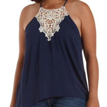 Plus Size Navy Combo Crochet-Bib Swing Tank Top by Charlotte Russe