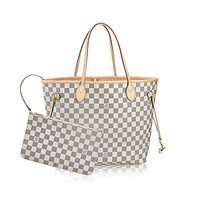 Louis Vuitton Damier Azur Canvas Rose Ballerine Neverfull MM N41605